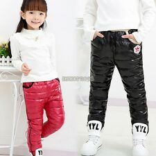 Kids Boys Girls Down Pants Trousers Warm Clothes Wind Proof Winter Warm EP98