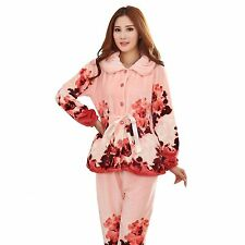 Winter Flannel Cotton-padded Thickened Ink Painting Flower Women's Pajamas Set