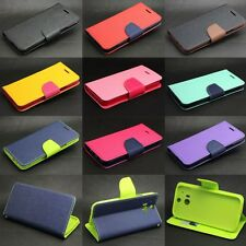 Dual Color Deluxe Wallet Leather Flip TPU Case Cover Stand For Various HTC Phone
