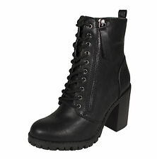 Malia! Soda Women's Military-style Ankle Lace-up Combat Boots Black Leatherette