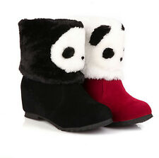 New Women's Fleece Lined Panda Cartoon Cotton Padded Shoes Snow Boots