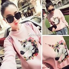Lady Unicorn Printed Sweatshirt Blouse Jumper Women Pullover Coat Tops M L DZ88