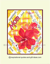 MOTHER AND FLOWER PICTURES WALL ART DECOR PRINT GIFTS FOR MOM POSTER MOTHERS DAY