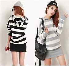 Fashion Womens Striped Long-sleeved Hooded Slim Sweater Maternity Casual Hoodies