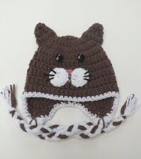 CROCHET KITTY CAT EAR FLAP BABY HAT KNIT  infant toddler beanie photo prop USA