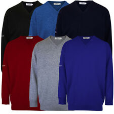 PROQUIP Lambswool V-Neck Sweater Water Repellent Jumper Mens Golf Pullover