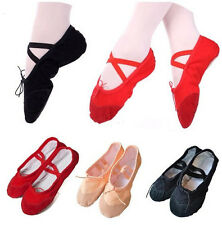 Girls Womens Ballet Dance Shoes Fitness Gymnastics Shoes Canvas Length 16-25cm