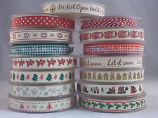 CHRISTMAS RIBBONS 15mm LARGE SELECTION OF RIBBONS TO CHOOSE FROM IN 3 M  LENGTH