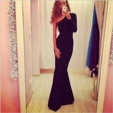 Sexy Women One Shoulder Slim Ball Fashion Evening Party Cocktail Long Maxi Dress