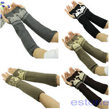 Knitting Wool Crochet Braided Wrist Hand Arm Warmer Mitten Fingerless Gloves
