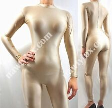 Zantai Nude Skin Mock Neck Long Sleeve Unitard Bodysuit Aerobic Costume S-3XL