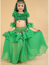 Girls Kids Belly Dance Costume Outfit Top Skirt Bollywood Halloween Indian Dance