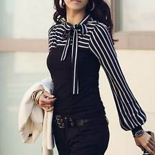 Sexy HOT! Woman Lady T-Shirt Bowknot Stripe Attractive Black New M2906