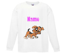 PERSONALISED CUTE DOG PUPPY LONG SLEEVE T-SHIRT TOP PRINTED WITH CHILD'S NAME