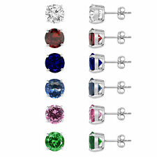 925 Sterling Silver Round Stud Earrings Swarovski Crystal Cubic Zirconia 8mm 2CT