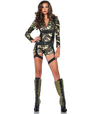 Sexy Goin' Commando Camo Military Army Girl Bodysuit Jumpsuit Halloween Costume