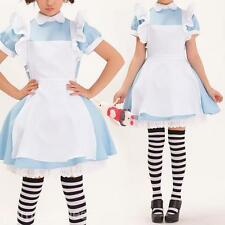 3in1 Apron Sexy Housemaid Waitress Cosplay Costume COS Uniform Dress+Headband