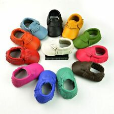 Baby Moccasins Soft Moccs Newborn Baby Prewalker Anti-slip Genuine Leather Shoes