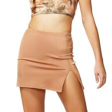Go Nude Flesh Tone Solid Buff Spandex Lycra Short Mini Skirt American Deadstock
