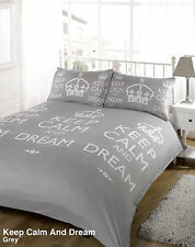 Keep Calm Grey Duvet Bedding Set - Single-Double-King Size-Super King Size
