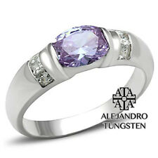 Alejandro Tungsten 925 Sterling Silver Luxury Women's Ring Light Amethyst TG105