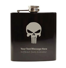 6oz Hip Flask with Gift Box - Personalised With Your Name (Evil Skull Design)