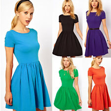 Women's Cotton Short Sleeve High Waist Tunic Pleated Short Skater Mini Dress S-L