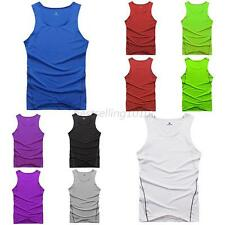 Men Stretch Tank Top Shirt Sleeveless GYM Sport Vest Fitted Athletic Clothes B99
