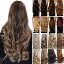 100% Real Soft Long Straight/Curly/Wavy Clip in Hair Extensions 5 clips on ss95