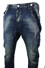 Mens Slim Fit Blue Bleach Washed Jeans Ripped Low Crotch Suspenders Braces