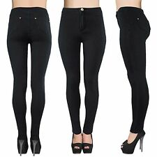 LADIES HIGH WAISTED BLACK TUBE JEANS WOMENS STRETCH DENIM SKINNY FIT DISCO PANTS
