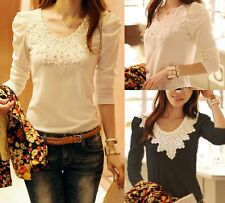 New Women's Long sleeve Lace Floral Crew Neck Blouse T-Shirt Tops