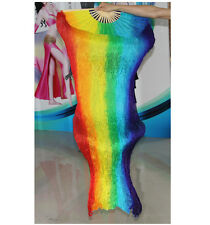 Colorful Long 100% Silk Belly Dance Fan Veil Costume 1 PC Right Hand Left Hand