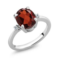 2.87 Ct Oval Red Garnet White Topaz 925 Sterling Silver Ring