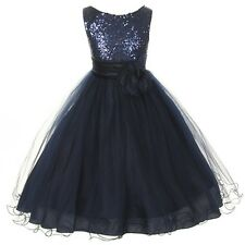 Navy Blue Flower Girls Dresses Summer Prom Party Birthday Pageant Bridesmaid