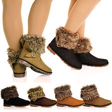D1Y Womens Faux Fur Collar Warm Flat Pull On Ankle Boots Flat Snow Ladies Shoes