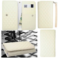 QUILTED White Leather Wallet Universal Pouch Cover Case For Samsung Phones