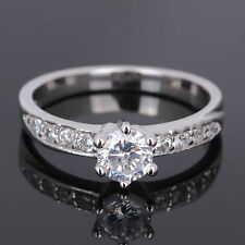 S925 Sterling Silver CZ Crystal Rhinestone Wedding Engagement Ring Jewelry New