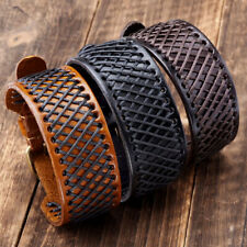 1x Punk Hemp Braided Genuine Leather Mens Belt Wristband Bangle Bracelet Cuff