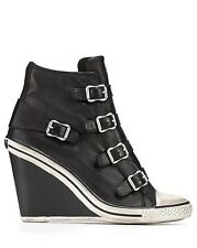ASH Brand Thelma Ankle Strap Buckle Zip Boots Wedge Heels Sneaker Shoes Black