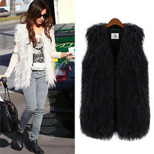 NEW Lady Faux Fur Vest Sleeveless Long Hair Waistcoat Gilet Coat Jacket Outwear