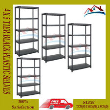 NEW 5 TIER BLACK PLASTIC RACKING SHELVING SHELVES RACK STORAGE SHELF UNIT STAND