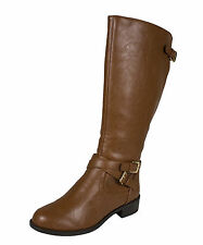 Bio! Soda Women's Knee-High Riding Boots Buckles Detailing Cognac Leatherette