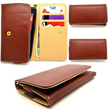 RETRO Wood Brown Leather Wallet Universal Pouch Cover Case For Nokia Phones