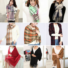 Women Tartan Blanket Scarf Wrap Oversized Shawl Plaid Cozy Checked Pashmina Hot