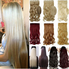 "17-30"" Long Women Clip In Hair Extensions 3/4 Full Head Black Brown Blonde hgd"