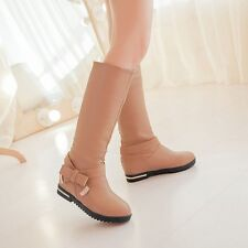 Korean Hot New Women's PU Leather Candy Bowtie Round Head Pull On Mid Calf Boots