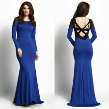 Women Long Sleeve Bodycon Bandage Cocktail Party Ball Gown Long Maxi Dress s M L