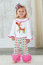 Set baby girl clothes kids Christmas  t-shirt +pants outfits for 1-5 Y 1452