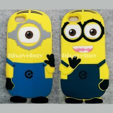 3D Cartoon yellow minions Case Covers Soft Silicone Rubber For iPhone 6 4.7''